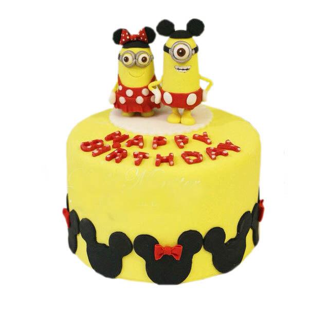 贝果-小黄人米奇乐园(翻糖)-蛋糕叔叔