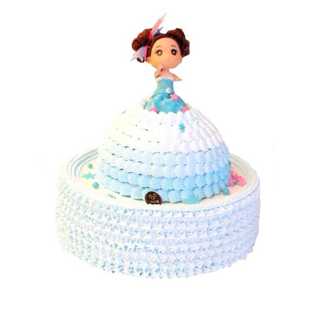 蓝色双层芭比娃娃蛋糕(浙江山山家)图片